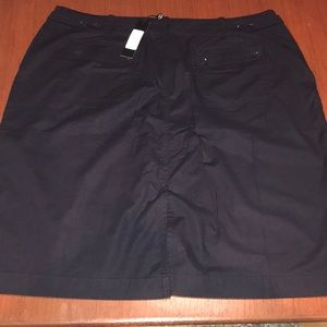 Talbots Black Cotton Mini Casual Pencil Skirt NWT